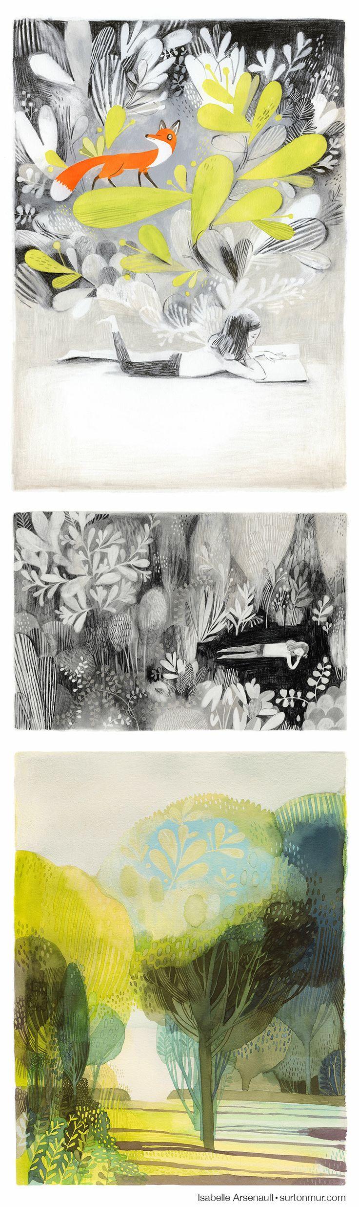 Illustration * Art * Watercolor * Book * Jane, the fox & me * Isabelle Arsenault