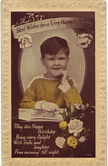 W B L Postcard - Best Wishes for a Very Happy Birthday c1925