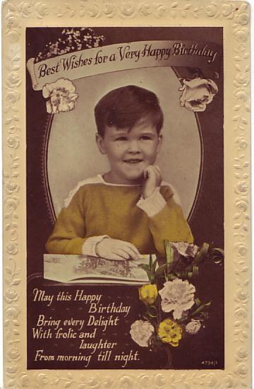 W B L Postcard - Best Wishes for a Very Happy Birthday c1925
