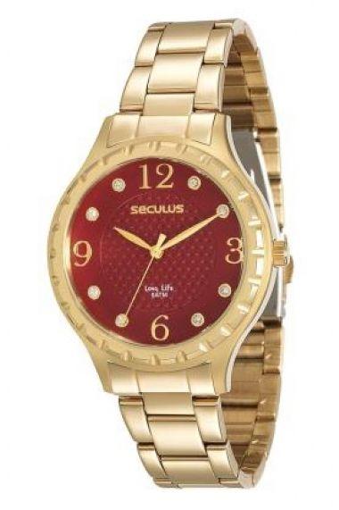 23509LPSVDA1 Relógio Feminino Dourado Seculus Long Life