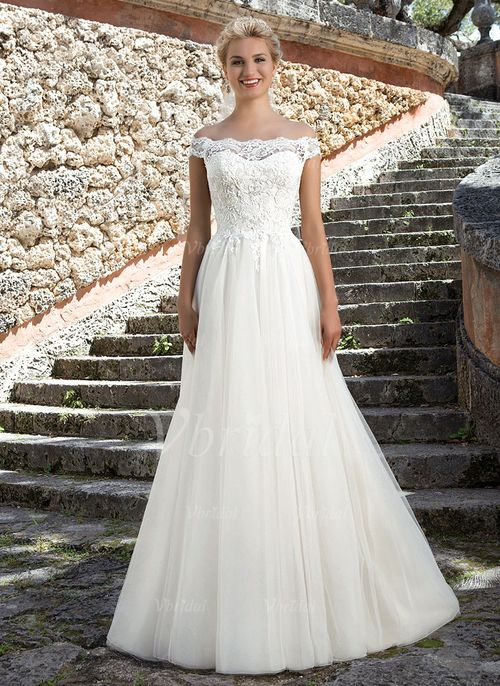 Wedding Dresses - $204.27 - A-Line/Princess Off-the-Shoulder Court Train Tulle Lace Wedding Dress (0025091368)