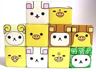 Relax bear emoticon cubes
