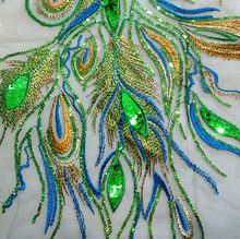 Grote groene 36*63cm feniks staart veer pailletten borduurwerk applique op mesh als grondstof voor bruiloft/presterende kleren diy(China (Mainland))