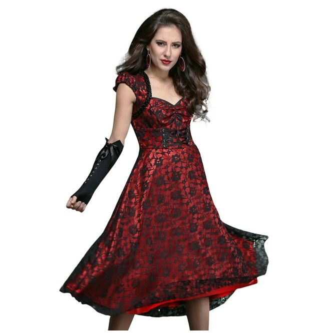 Floral mesh overlay dress. Knee length dress with sweetheart neckline and lace up waist. Full circle skirt bottom opening is looking very stylish