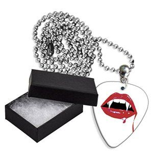 Vampire Teeth Boxed Metal Guitar Pick Necklace Collier Médiator (GD)