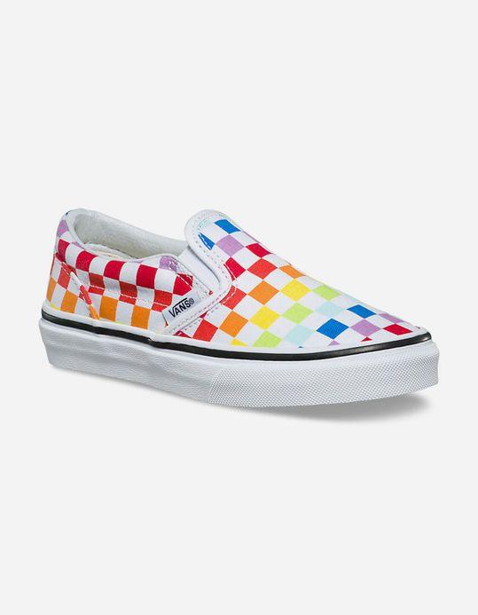girls rainbow checkerboard vans