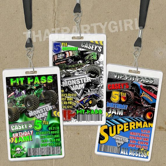 DIY Monster Truck Birthday Party VIP PASS Style Invitations - Digital U Print