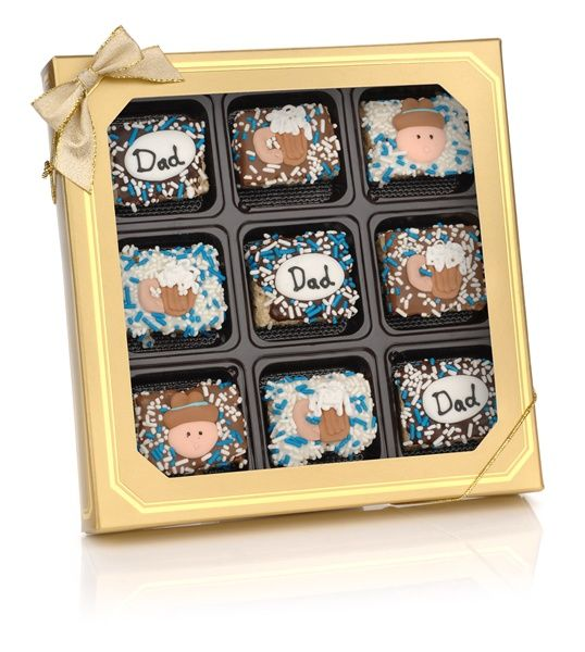"http://www.ladyfortunes.com/Fathers-Day-Chocolate-Dipped-Mini-Crispy-Rice-Bars-Window-Gift-Box-of-9-P574.aspx -- These delicious sticky treats are a great way to show Dad you care and give him a treat he can eat! These won't ""stick"" around very long."