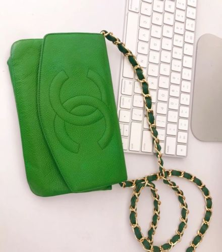 055bc0d4eac Details about authentic chanel cc logo green pouch wallet caviar ...
