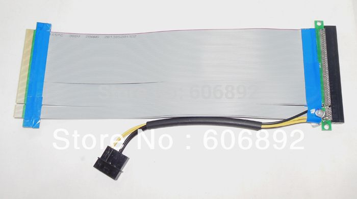 PCI-E PCI Express 16X to 16X Adapter Converter Riser Card Extender Flexible Extension Cable Molex 4 Pin Power Connector