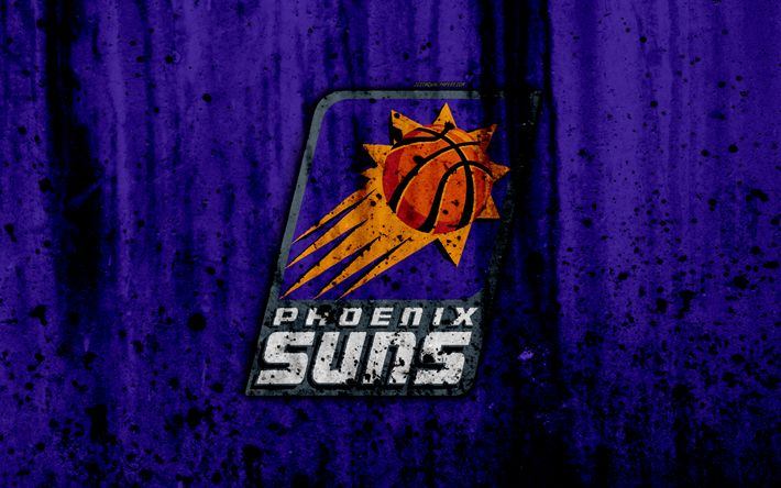 Download wallpapers 4k, Phoenix Suns, grunge, NBA, basketball club, Western Conference, USA, emblem, stone texture, basketball, Pacific Division