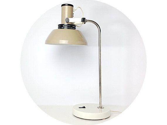 Large Desk Lamp / Cream Light Brown / Soviet USSR 80s / ESTOPLAST Estonia / Excellent condition