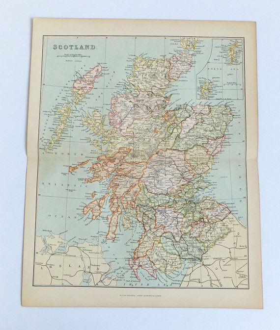 Scotland map 1880's Map Antique Map of Scotland 19th