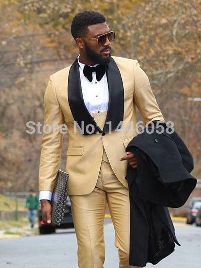 2972c78cf569 Latest Coat Pant Designs Beige Men Suit Prom Tuxedo Slim Fit 3 Piece Groom  Wedding Suits For Men Custom Blazer Terno Masuclino