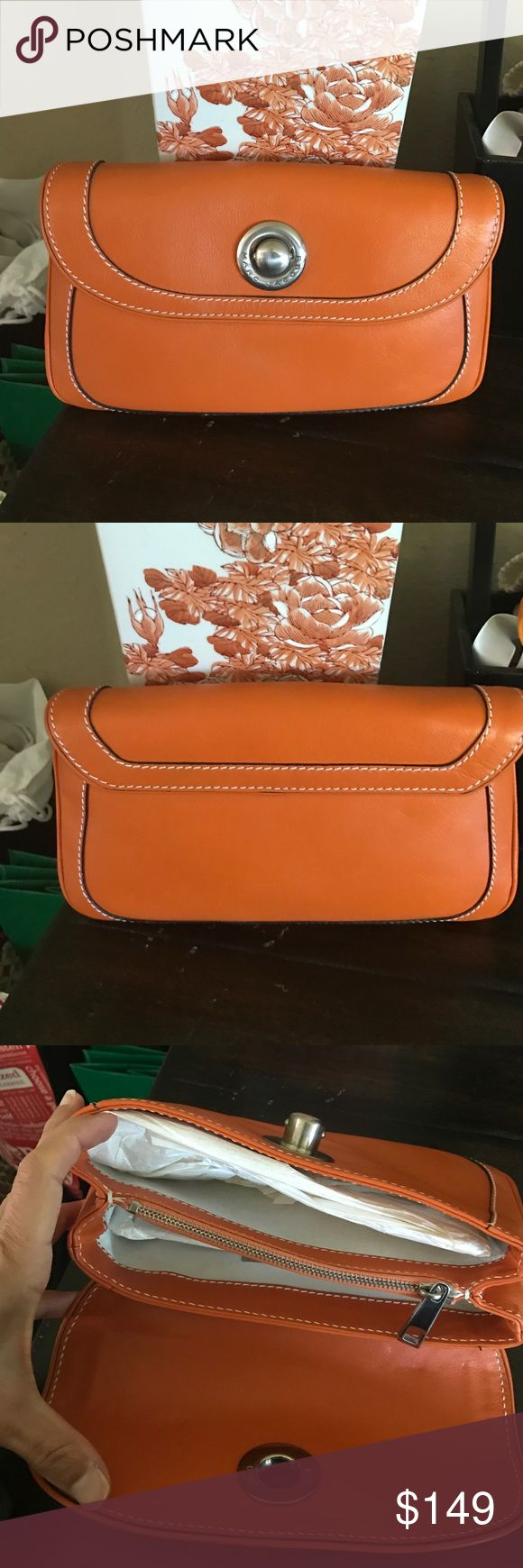 💜authentic Marc Jacobs orange clutch Gorgeous orange leather clutch by Marc Jacobs. Perfect condition. Lined in suede. Marc Jacobs Bags Clutches & Wristlets