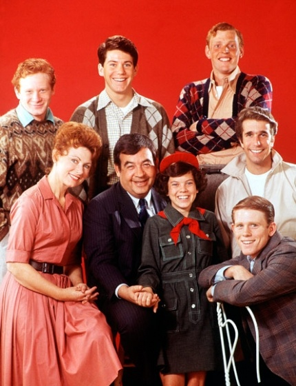 Happy Days - Original cast: Marion Ross, Tom Bosley, Erin Moran, Henry Winkler, and Ron Howard - Don Most, Anson Williams, and Gavan O'Herlihy