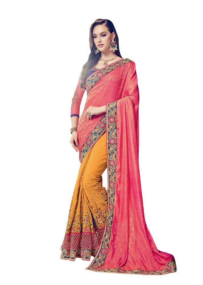 New Indian Ethnic Designer Wear Bollywood Saree Wedding Wear Saree Mustard Pink #BollywoodWeddingWearSaree