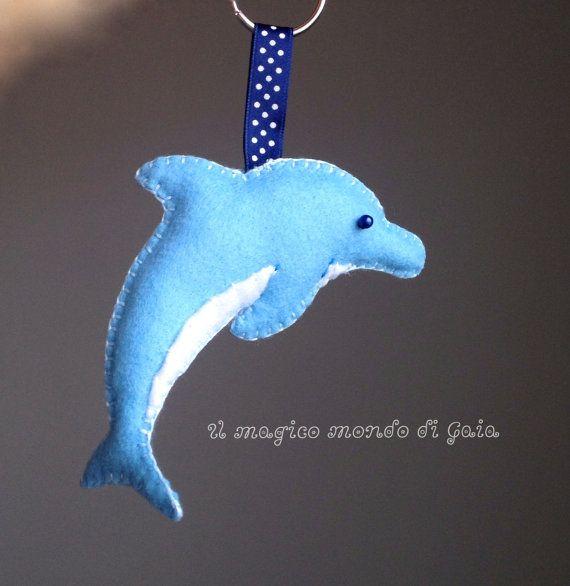 Portachiavi delfino in morbido feltro di IlMagicoMondodiGaia