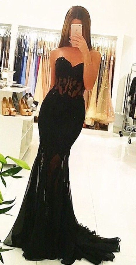 2017 Mermaid Black Sheer Prom Dresses Appliques Long Sexy Tulle Evening Gowns