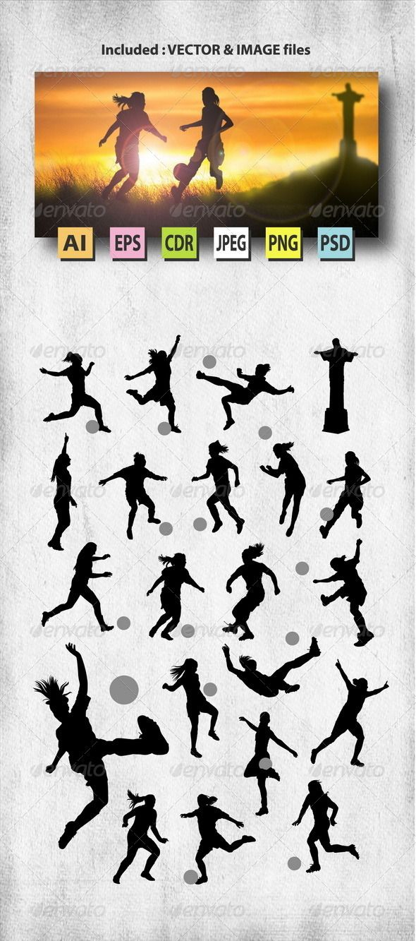 Female Soccer Silhouettes - Sports/Activity Conceptual