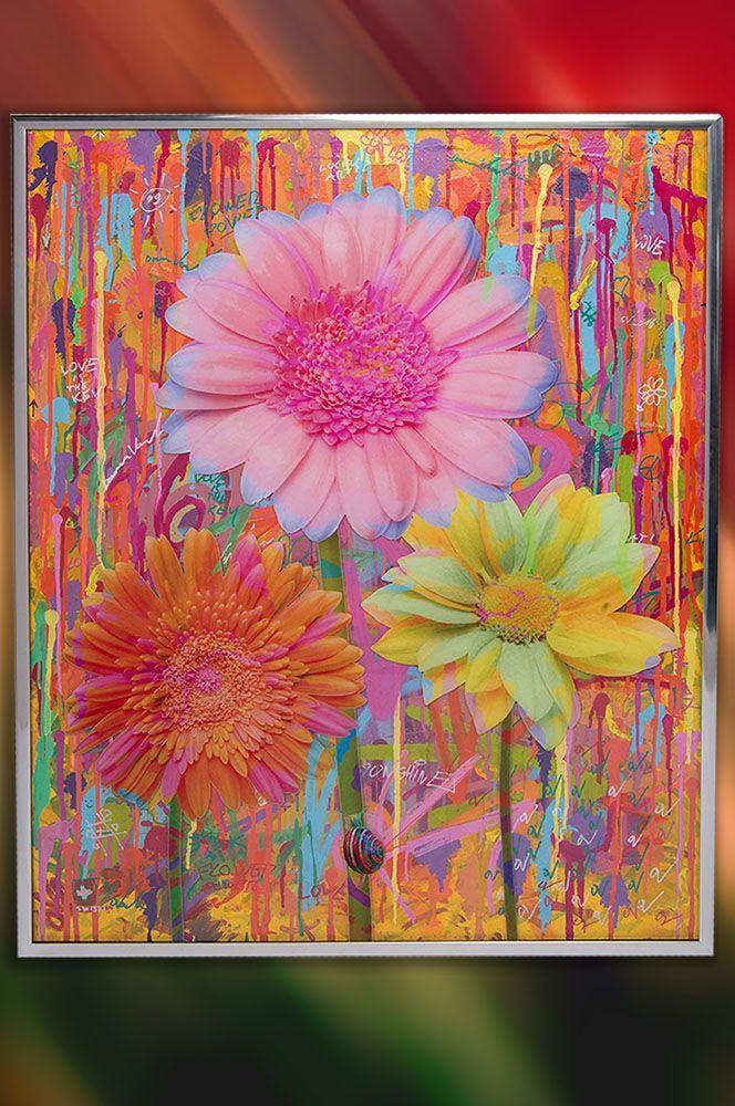 Flower power artwork by Dominic Vonbern. Art for sale. Flowers art.