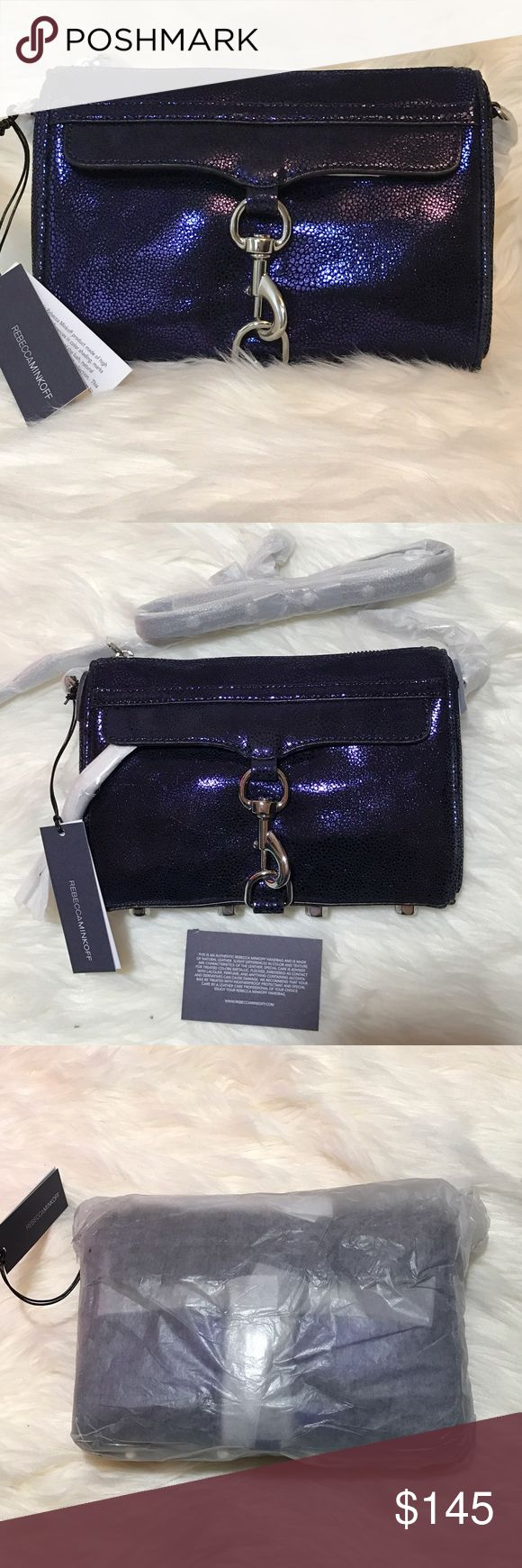 Rebecca Minkoff Mini MAC This is a brand new, still in packaging from the factory, gorgeous mini mac! Silver hardware. This is suede embossed with a metallic deep purple. It is truly a stunning color! Rebecca Minkoff Bags Crossbody Bags