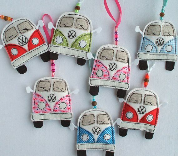 VW Camper Van. Textile Volkswagen Hippy Bus Decoration. VW Kombi Fabric Hippie Camper Ornament. Split Screen. Kombi Van.