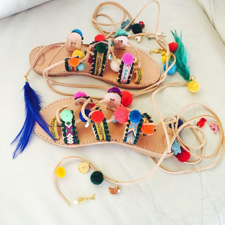 "Pompom ethnic sandals/Tie Up Gladiator ""Sophia Loren"""
