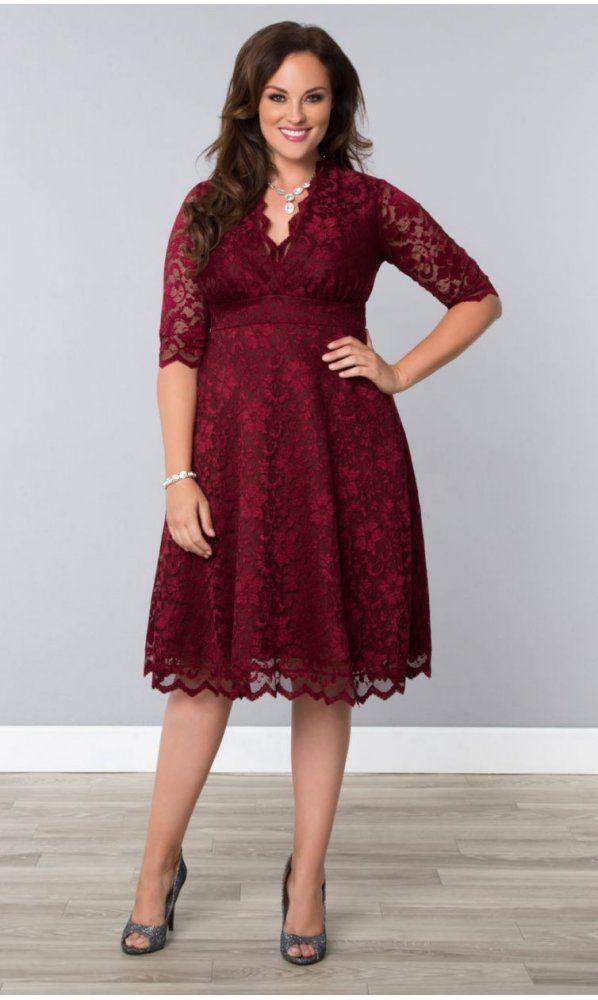 Kiyonna Mademoiselle Lace Dress in Pinot Noir