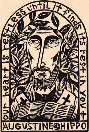 Saint Augustine of Hippo linocut Christian by wORKINGaRTs on Etsy