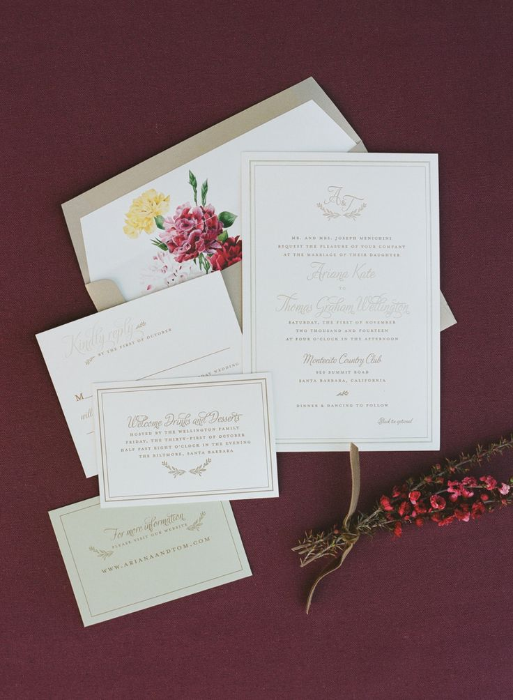 custom wedding invitations nashville%0A Classic Fall Santa Barbara Wedding