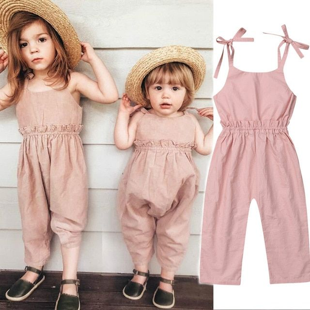 045005a8363b0 Pudcoco Kid Baby Jumpsuit Romper Summer Sleeveless Solid Pink Long ...