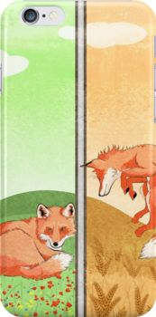 Season of the Foxes art print iPhone cases & skins by AnMGoug on Redbubble. #fox #iphone #art