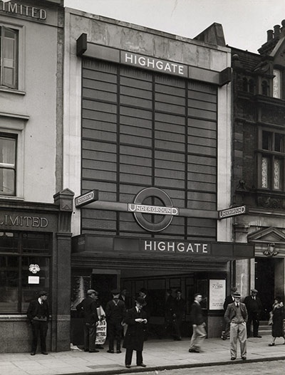 Highgate station (renamed Archway a few years later) was reopened with Charles Holden's huge glazed wall frontage in April 1932.