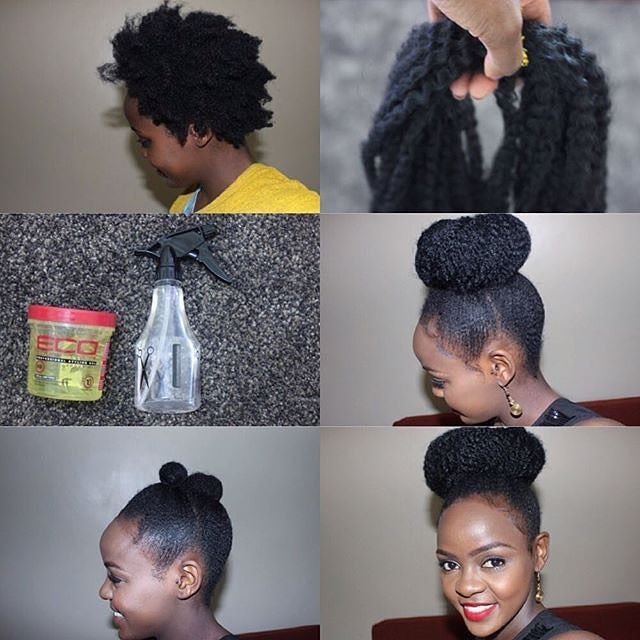 By @sheilandinda Faux bun with marley braids tutorial. 1⃣Put hair in two ponytails,brush updwards and secure with a ponytail holder.( splitting the ponytail in two helps people with shorter hair achieve a high ponytail) 2⃣ Lightly spritz hair and use a gel of choice to lay your edges( i used eco styler gel) 3⃣ Tie the hair with a scarf for 10mins to ensure your edges stay put. 4⃣ Hold the centre of the marley hair with a ponytail holder and place it on the bun. 5⃣ Wrap marley hair around the…