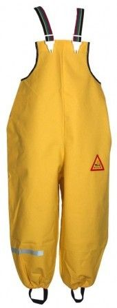 Die Tells Regenhose (gelb oder rot). Öko Test Sieger - bestand als Einzige!  - super robust und dabei angenehm weich im Griff. Größen 80 - 90 - 100.