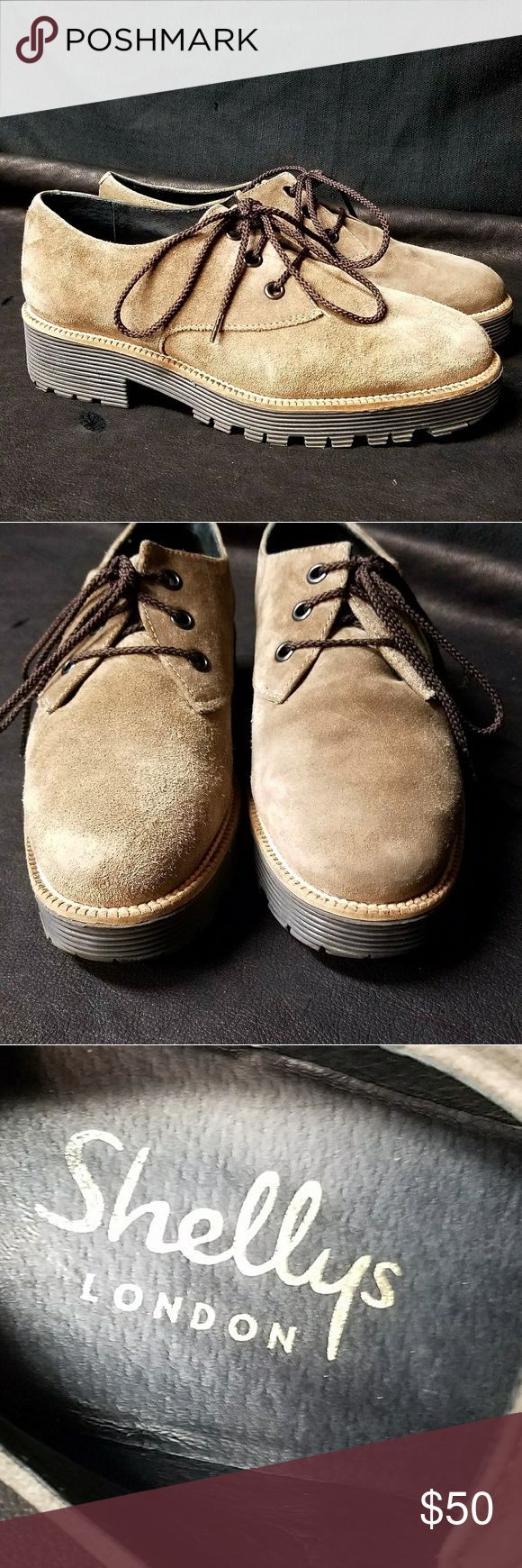 Shellys London Suede Oxfords All leather lining, suede oxford. Color is almost a green/tan. Excellent condition with almost no signs of wear. Rubber sole with 1.5 inch heel height. Made in Spain. Shellys London Shoes Flats & Loafers