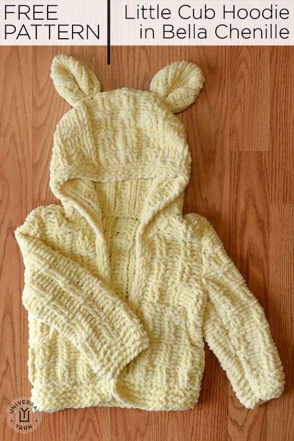 5aff690590d8b Free Pattern! The knitted Little Cub Hoodie is sized 6 mos to 4 years.  Calls for 2-3 balls of Universal Yarn Bella Chenille.