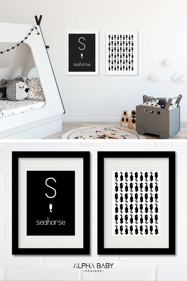 Nursery room must-have! Personlized with baby's initial in stunning black and white, by Alpha Baby Designs.