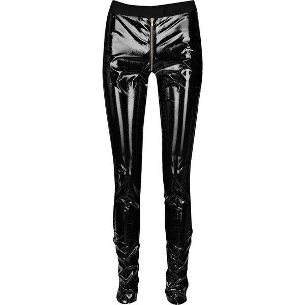 Preen Line Oil PVC pants ($435) ❤ liked on Polyvore featuring pants, leggings, bottoms, jeans, women, pvc trousers, wide-waistband leggings, legging pants, pvc leggings and pvc pants
