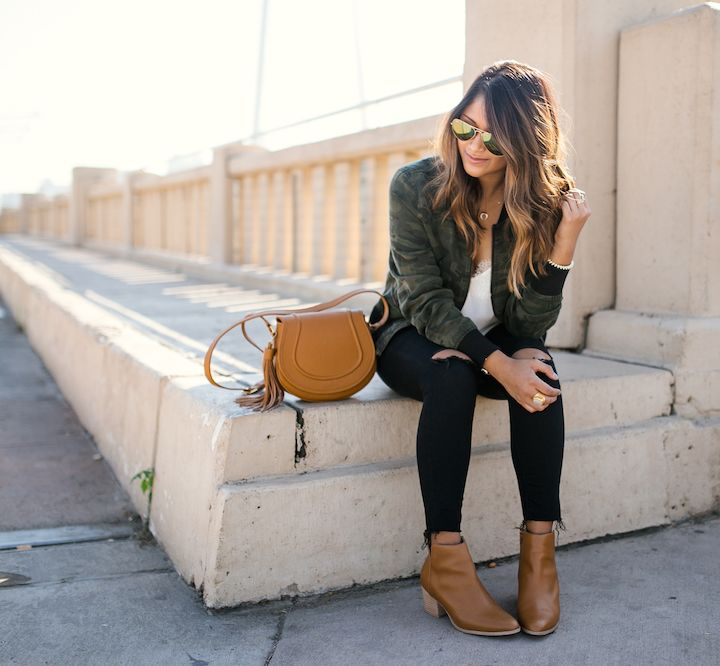 haute off the rack, saddle bag, fall outfit, ripped jeans, ankle boots, fall booties, women's fashion, street style, camo bomber jacket, fall fashion, @giginewyork Jenni Saddle Bag, @SoleSociety boots