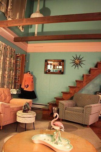 Aqua And Pink Atomic Living Room