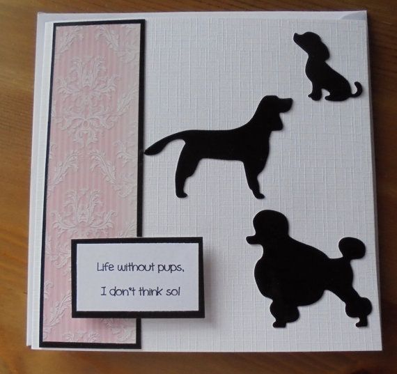 Dog silhouette card. French poodle. German pointer.  Check out this item in my Etsy shop https://www.etsy.com/listing/229055305/dog-silhouette-card-dogs-card-french