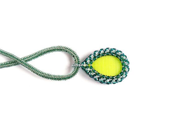 on SALE 50%  Agate Pendant Green Bead-woven by JewelrybyFlorist