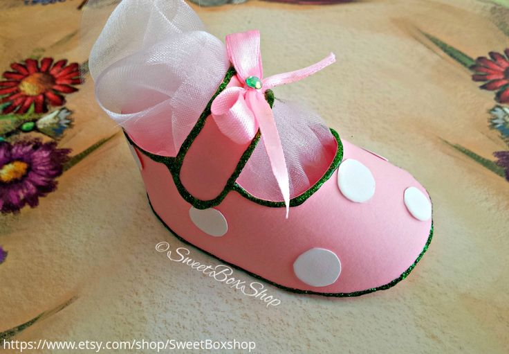 Little girl baby shoe favor box gift box