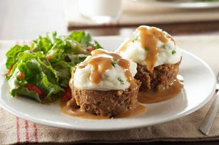 Potato-Topped Mini Meatloaves recipeKraft Recipe, Meatloaf Recipe, Potatoes Tops Minis, Minis Meatloaves, Meatloaves Recipe, Mashed Potatoes, Food, Meat Loaf, Potatotop Minis