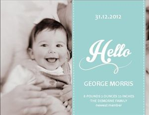 'Retro babe' birth announcement from InkiMinki. Retro styling on white linen stock. Delicious.