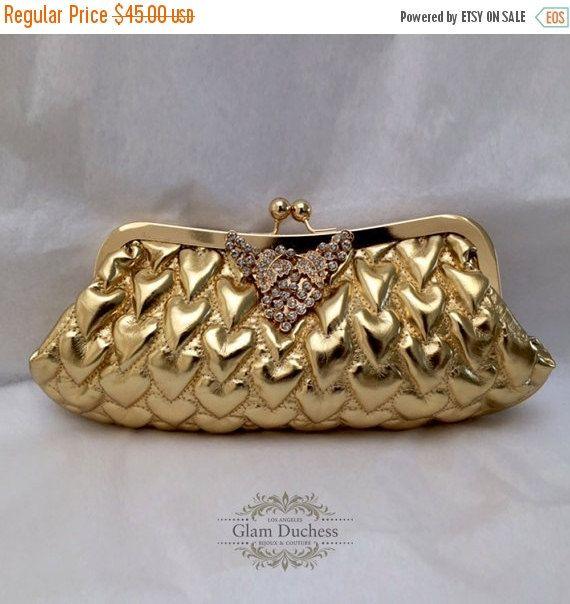 Wedding clutch,Golden Bridal clutch, crystal clutch,  vintage inspired bridal…
