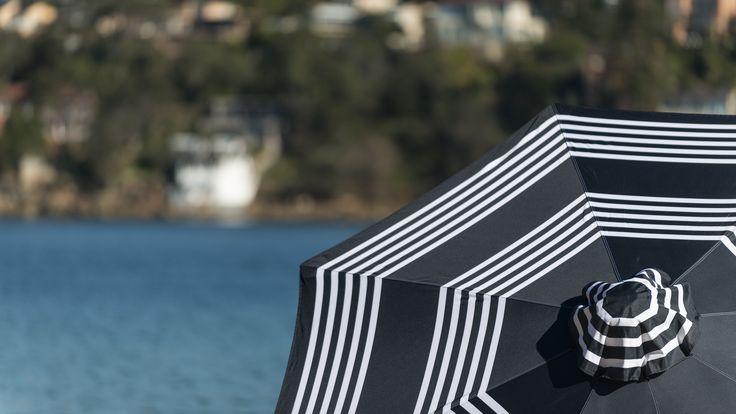 3m Duchess & Deco Outdoor Umbrella in 60's Stripe (Black) design.