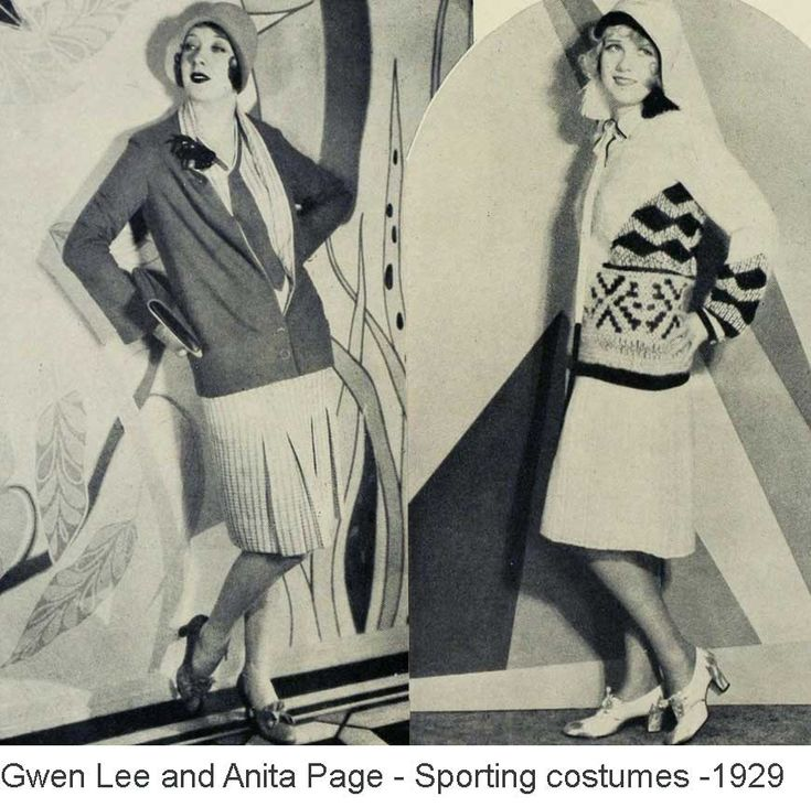 1929 -For the polo game or the whippet race, Gwen Lee selects this two piece sports costume of French jersey. The frock, pleated at the front of the skirt and trimmed with a flat tie at the neck-line, is of beige and red in a small geometric design.  To the right – a stunning sports frock in black and white, worn by Anita Page. the blouse and knife-pleated skirt are of white Georgette and the blouse is trimmed with angora embroidery in white and black.